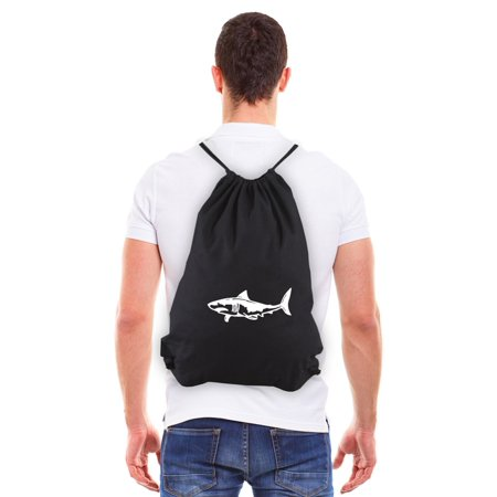 Great White Shark Silhouette Eco-friendly Reusable Draw String Bag Black & White