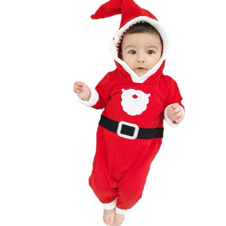 Newborn Baby Boy Costumes (Christmas Newborn Baby Boys Girls Fleece Hooded Romper XMAS Outfits Clothes Costume)