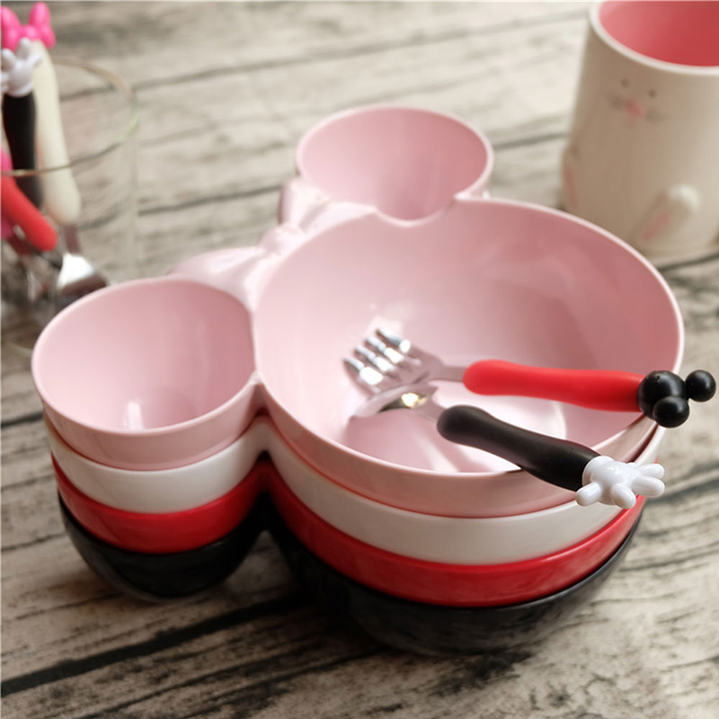 Children Tableware Cute Mickey Mouse Head Shape Bowl Cartoon Lattice Plate Dish ColorPink Minnie diameter6 inches - Walmart.com & Children Tableware Cute Mickey Mouse Head Shape Bowl Cartoon Lattice ...
