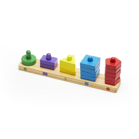 Melissa & Doug Stack and Sort Board - Wooden Educational Toy With 15 Solid Wood Pieces (Melissa And Doug Stacking Train)