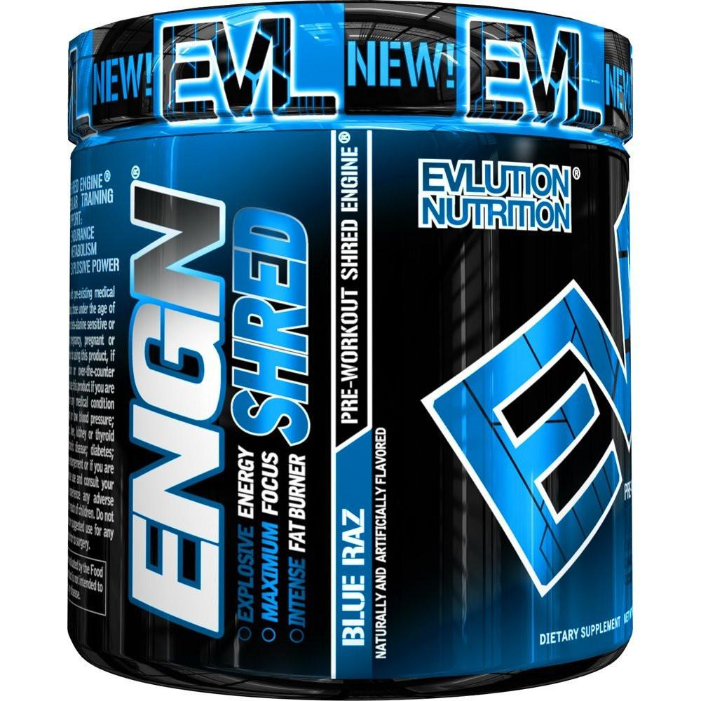 Evlution Nutrition ENGN Shred Pre Workout Powder, Blue Raz, 30 Servings