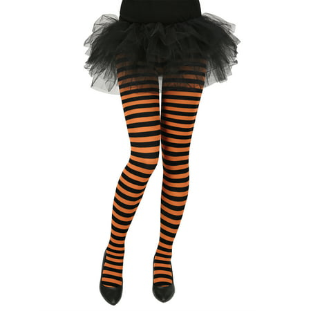 Orange And Pink Striped Tights (Women's Striped Tights Opaque Microfiber Stockings Nylon Footed)