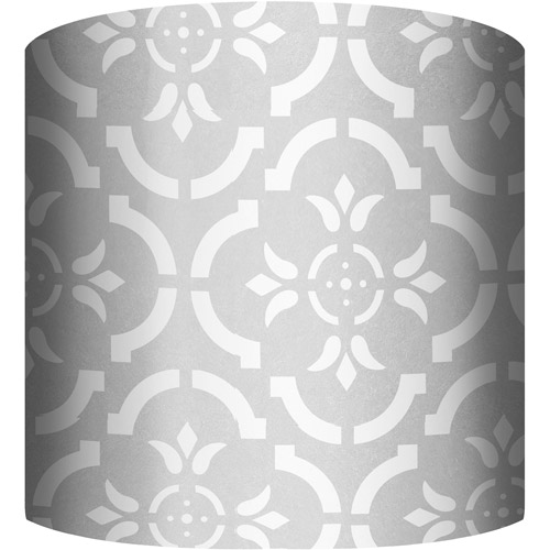 "10"" Drum Lamp Shade, White and Silver V"