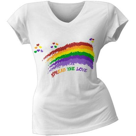 2 Love   Miley Cyrus Spread The Love Rainbow Juniors V Neck T Shirt