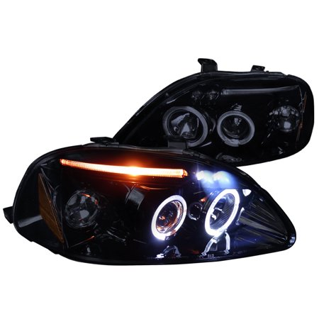 Spec-D Tuning 1996-1998 Honda Civic Led Halo Projector Headlight 1996 1997 1998 (Left + Right) (Halo Headlights Honda Civic 2000)
