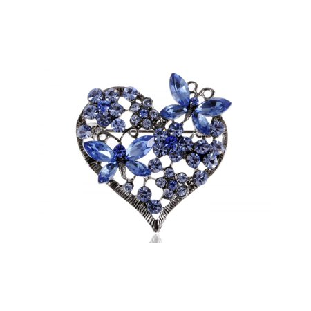 Womens Floral Silvery Tone Crystal Rhinestone Insect Butterfly Love Flower Heart Brooch Pin