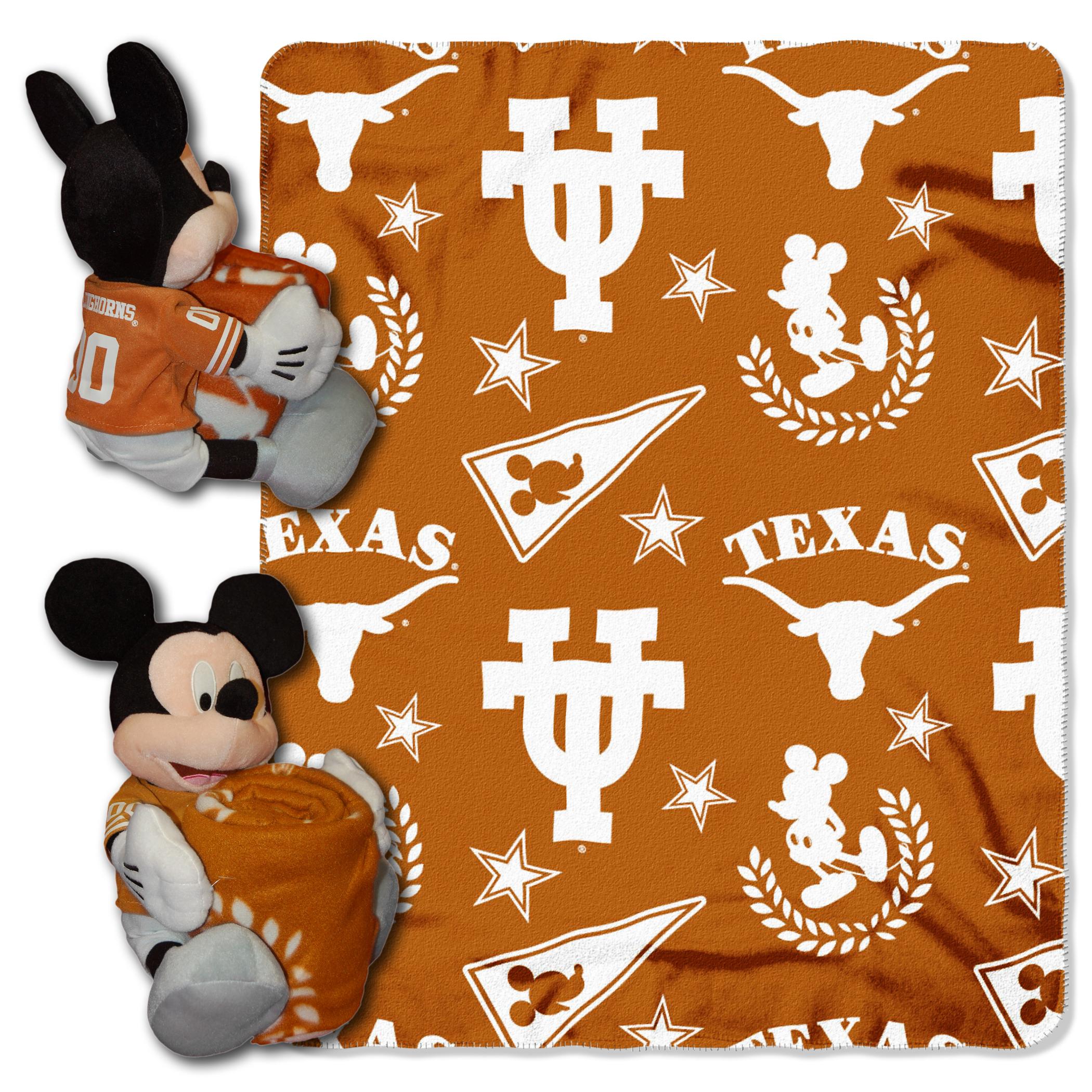 """Official NCAA and Disney Cobrand Texas Longhorns Mickey Mouse Hugger Character Shaped Pillow and 40""""x 50"""" Fleece Throw Set"""