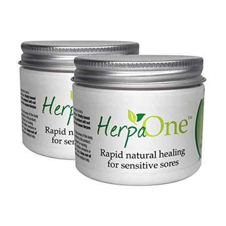 HerpaOne - Rapid Healing for Herpes Sores - All Natural - Lysine and Zinc Formulation- for Herpes Cold Sores Pain Itching Relief by HerpaOne (Two Jars - 3.6