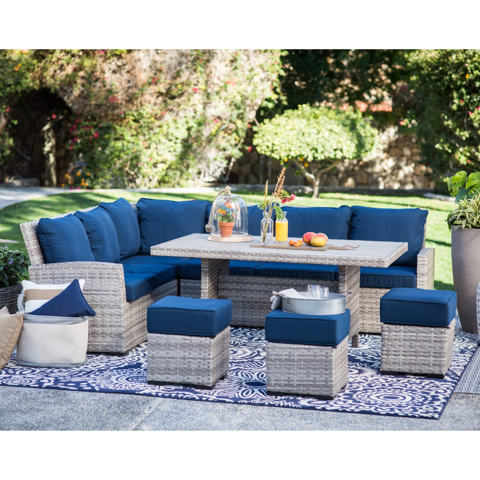 Superbe Belham Living Brookville 6 Piece All Weather Wicker Sofa Sectional Patio  Dining Set