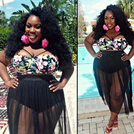 853f8c51530 Viugreum - Women s Plus Size Swimsuit Floral Top Black Mesh Skirt Bottom  Two Piece Bathing Suit - L - Walmart.com