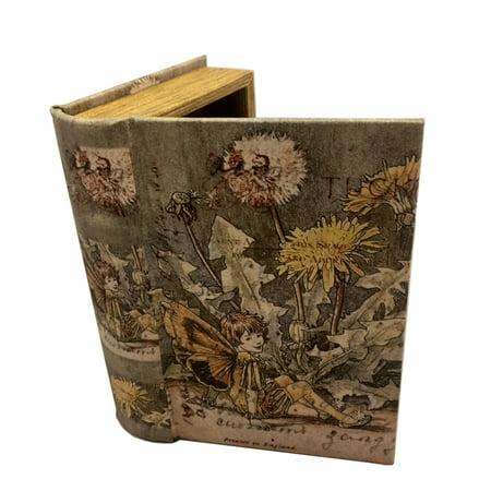 Vintage Fairy Book Box Leather Over Wood Secret Storage Box Fairy Keepsake