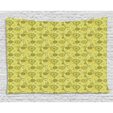 Ethnic Tapestry, Traditional Paisley Oriental Leaves Bohemian Motif Arabian Inspirations, Wall Hanging for Bedroom Living Room Dorm Decor, 80W X 60L Inches, Lime and Avocado Green, by Ambesonne (2 Light Wall Bracket Pearl)