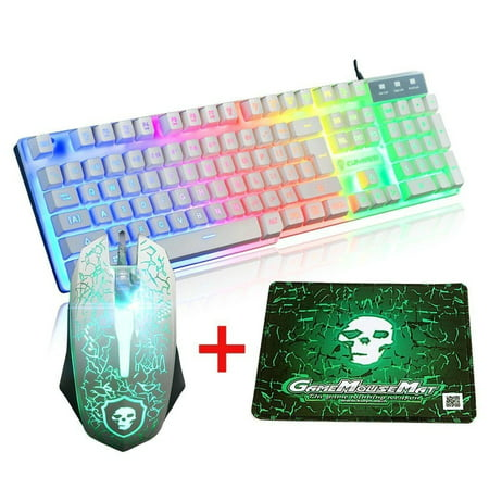 Gaming Keyboard and Mouse Combo Set With Mouse Pad Rainbow Color Backlit USB Keyboard RGB LED Keyboard For PC