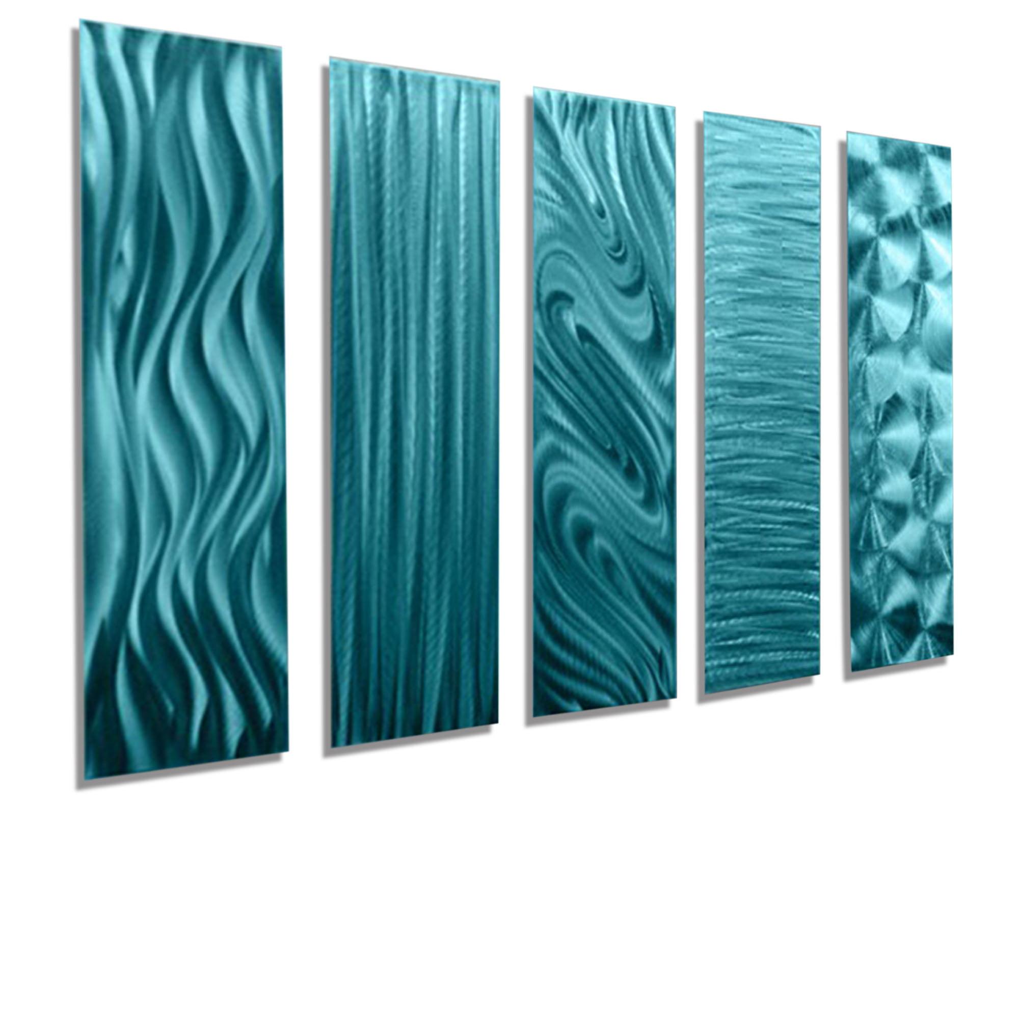 Statements2000 Abstract Metal Wall Art Accent Panels Blue Green by Jon Allen
