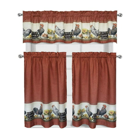 Decotex 3 Piece Window Treatment Kitchen Curtain Tier & Valance Set (36