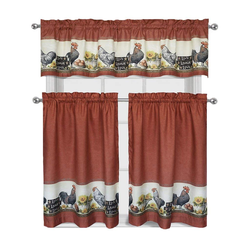"Decotex 3 Piece Window Treatment Kitchen Curtain Tier & Valance Set (36"" Tier Set, Rooster)"