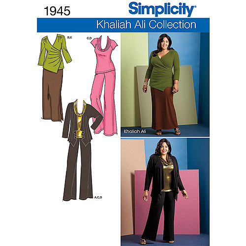 Simplicity Pattern Misses' and Plus Size Pants, Skirt and Knit Tops, (10, 12, 14, 16, 18)