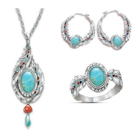 KABOER New Fashion Feather Gemstone Earring Ring Necklace Set Ethnic Style Jewelry Woman Gift Necklace Earring Ring