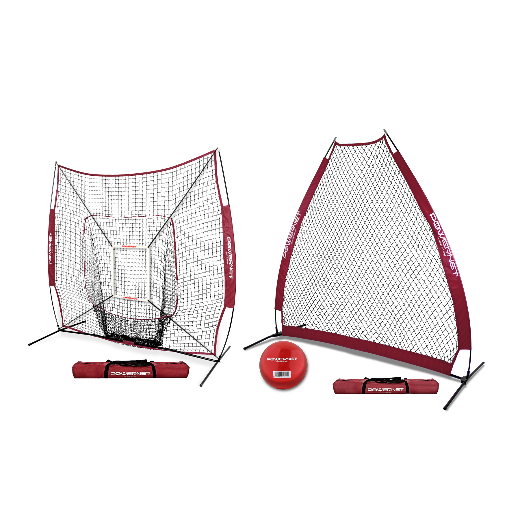 PowerNet 7x7 DLX Baseball Softball Practice Net Bundle with Portable A-Frame Pitching Screen