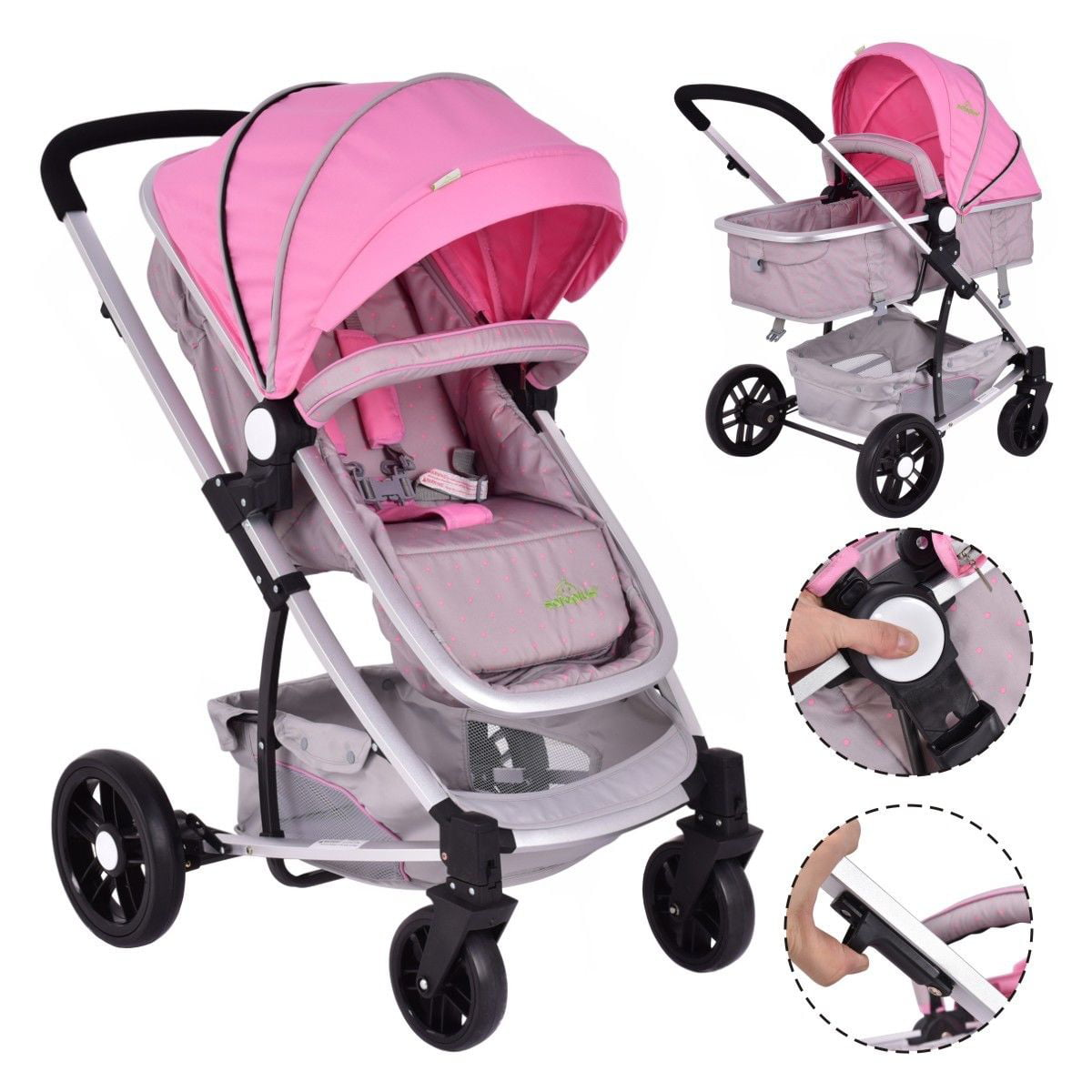 2 In1 Foldable Baby Stroller Kids Travel Newborn Infant Buggy Pushchair Pink - Walmart.com