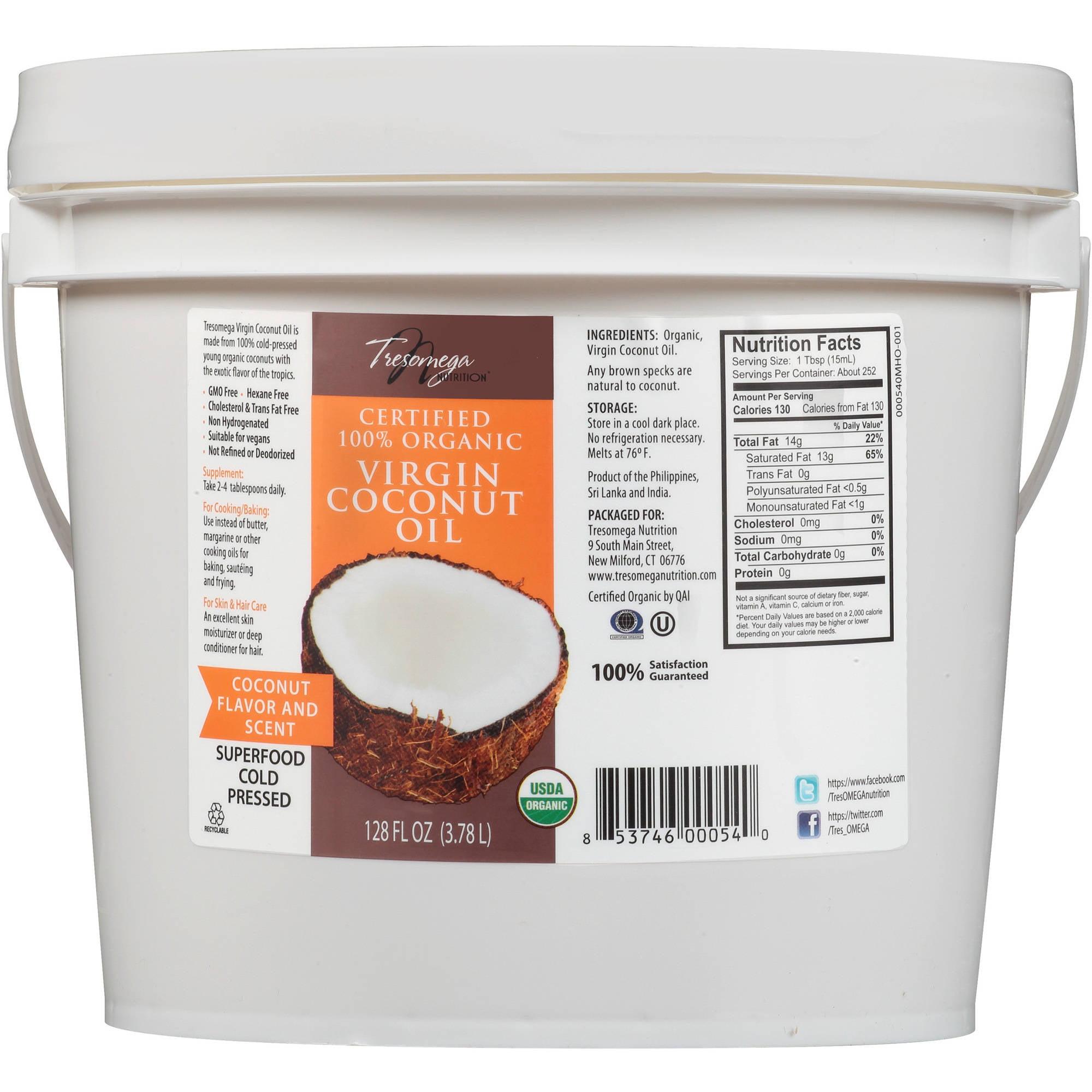 Tresomega Nutrition Certified 100% Organic Virgin Coconut Oil, 128 fl oz
