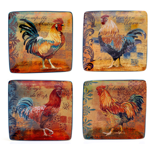 Certified International Rustic Rooster 5.75'' 4 Piece Canape Plate Set