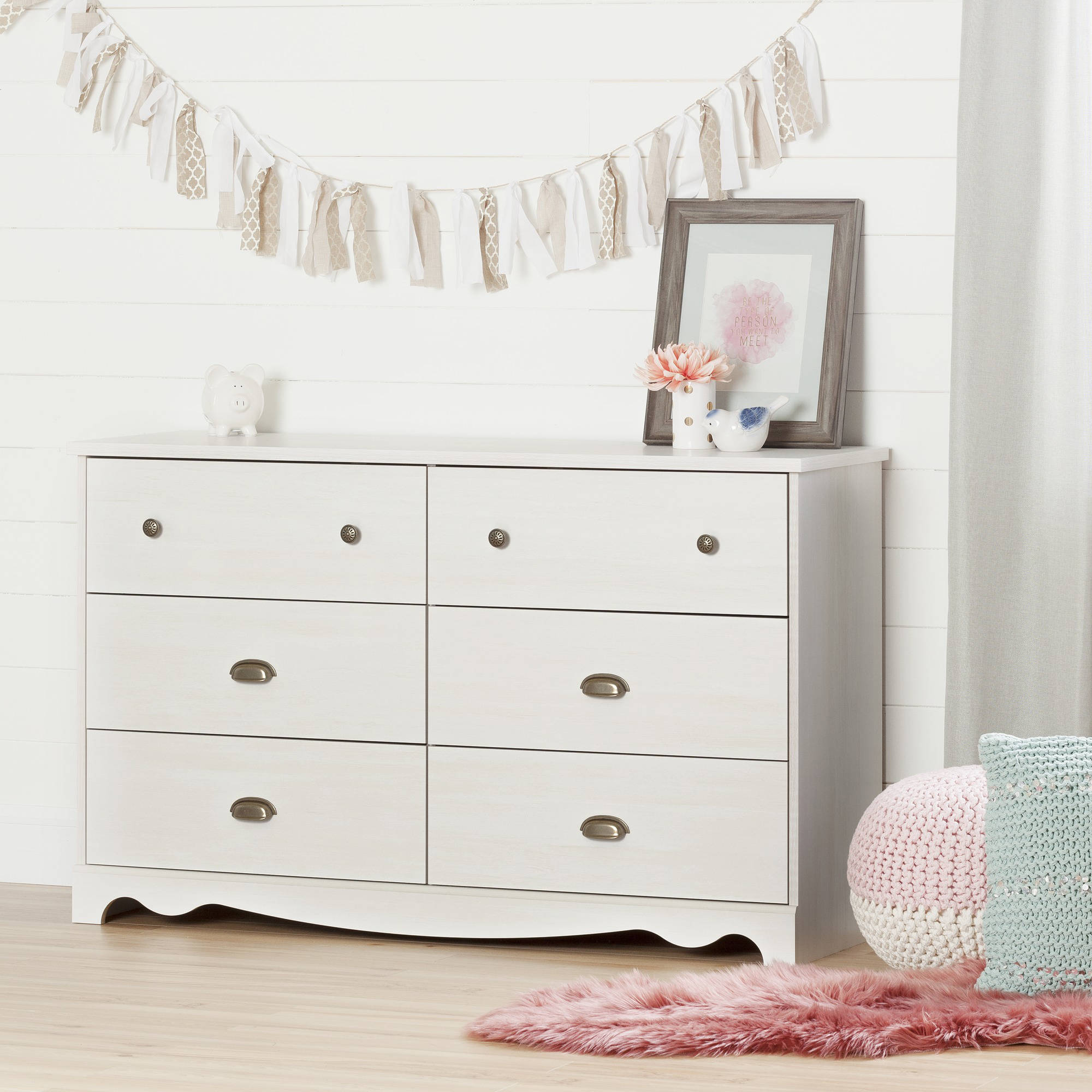 South Shore Caravell 6-Drawer Double Dresser, White Wash by South Shore