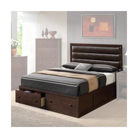 Coaster 202311q remington queen platform bed with 2 drawer for Queen upholstered bed with drawers