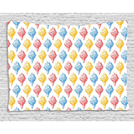 - Food Decor Tapestry, Ice Cream Cones 50s Time Colored Drawings with Abstract Retro like Design Image, Wall Hanging for Bedroom Living Room Dorm Decor, 60W X 40L Inches, Multicolor, by Ambesonne
