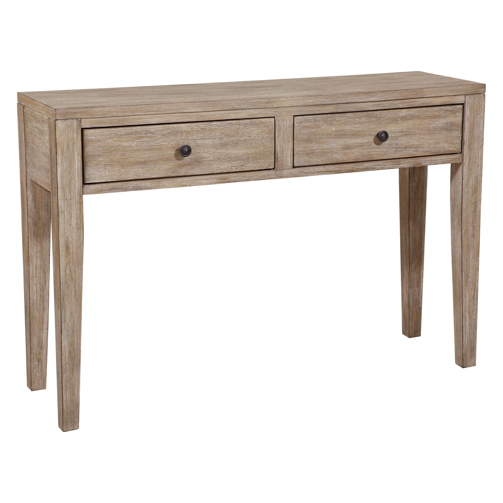 Farmhouse Style Distressed Wood Two Drawer Accent Storage Console Table