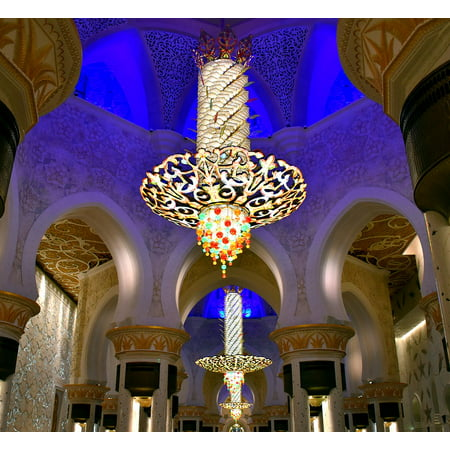 LAMINATED POSTER Chandelier Abhu Dhabi Sheikh Zayed Mosque Decoration Poster 24x16 Adhesive Decal - Chandelier Decoration