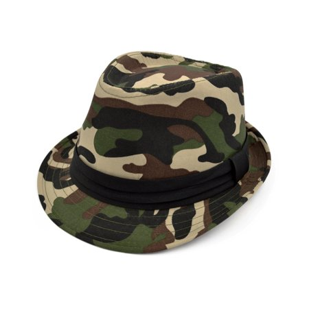 Premium Camouflage Black Band Fedora Hat (Lime Green Fedora)