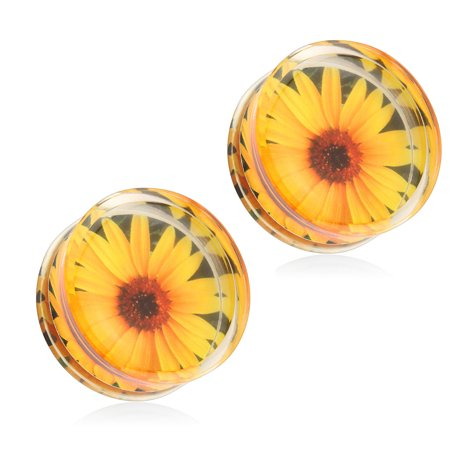 Pair Of Sunflower Print Encased Clear Acrylic Saddle Fit Plugs,Gauge (Thickness):0 (8.0Mm)