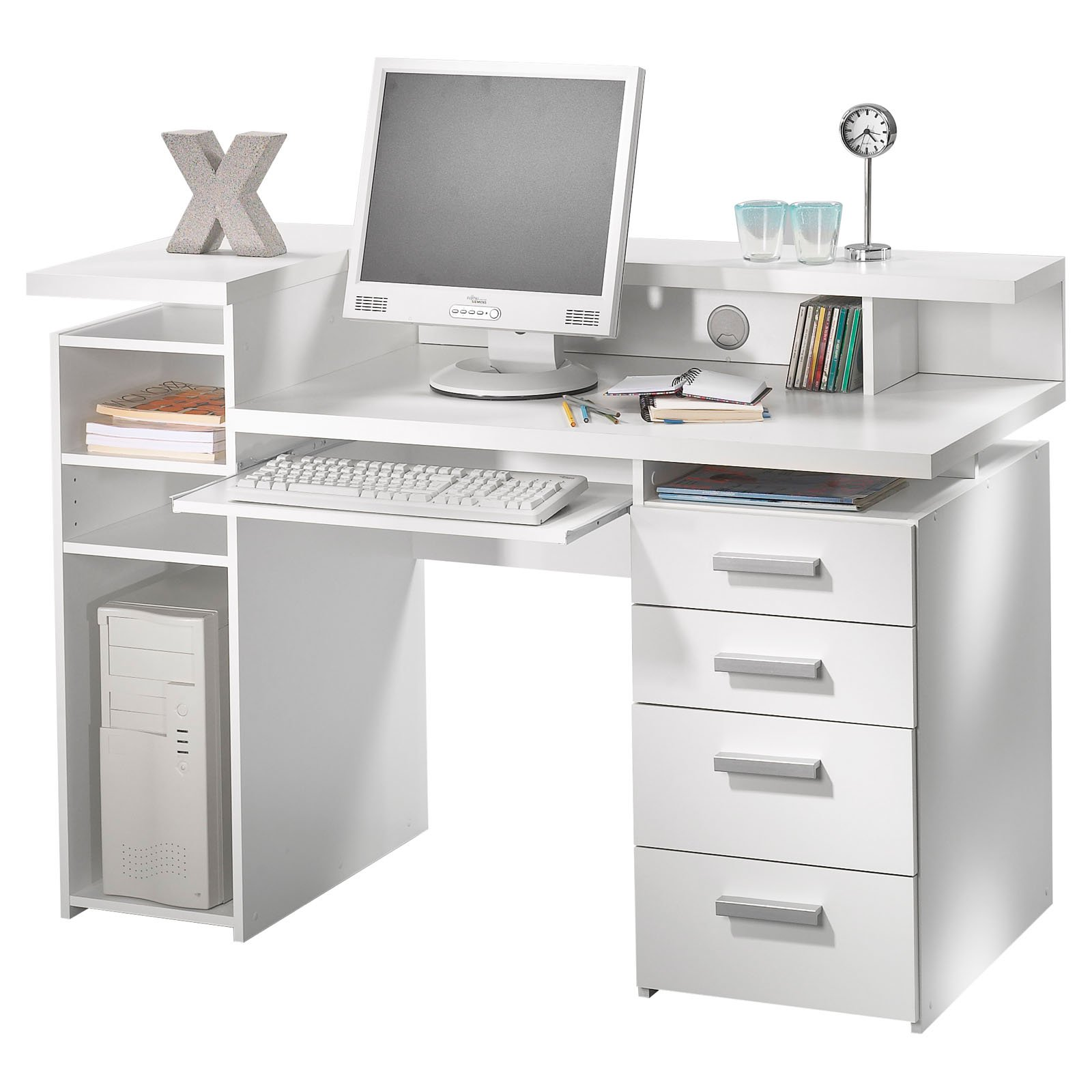 harbor white view with sauder desk transitional drawer computer at antiqued shop pd drawers