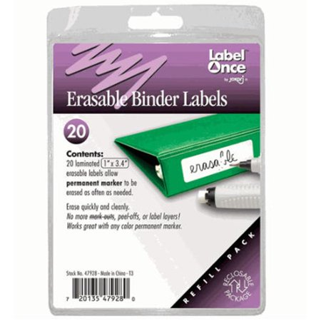 Jokari-US 47928 Erasable Binder Labels Refill- 20 labels