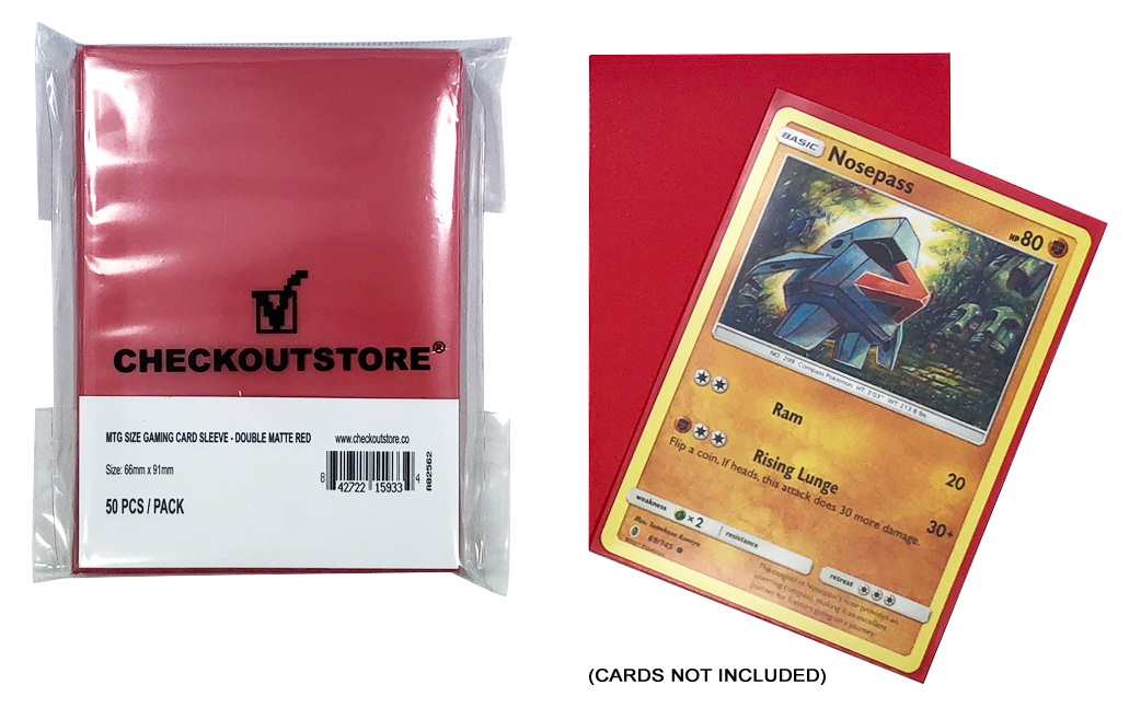 CheckOutStore 300 66 x 91 mm Protective Sleeves for Trading Cards Double Matte Red