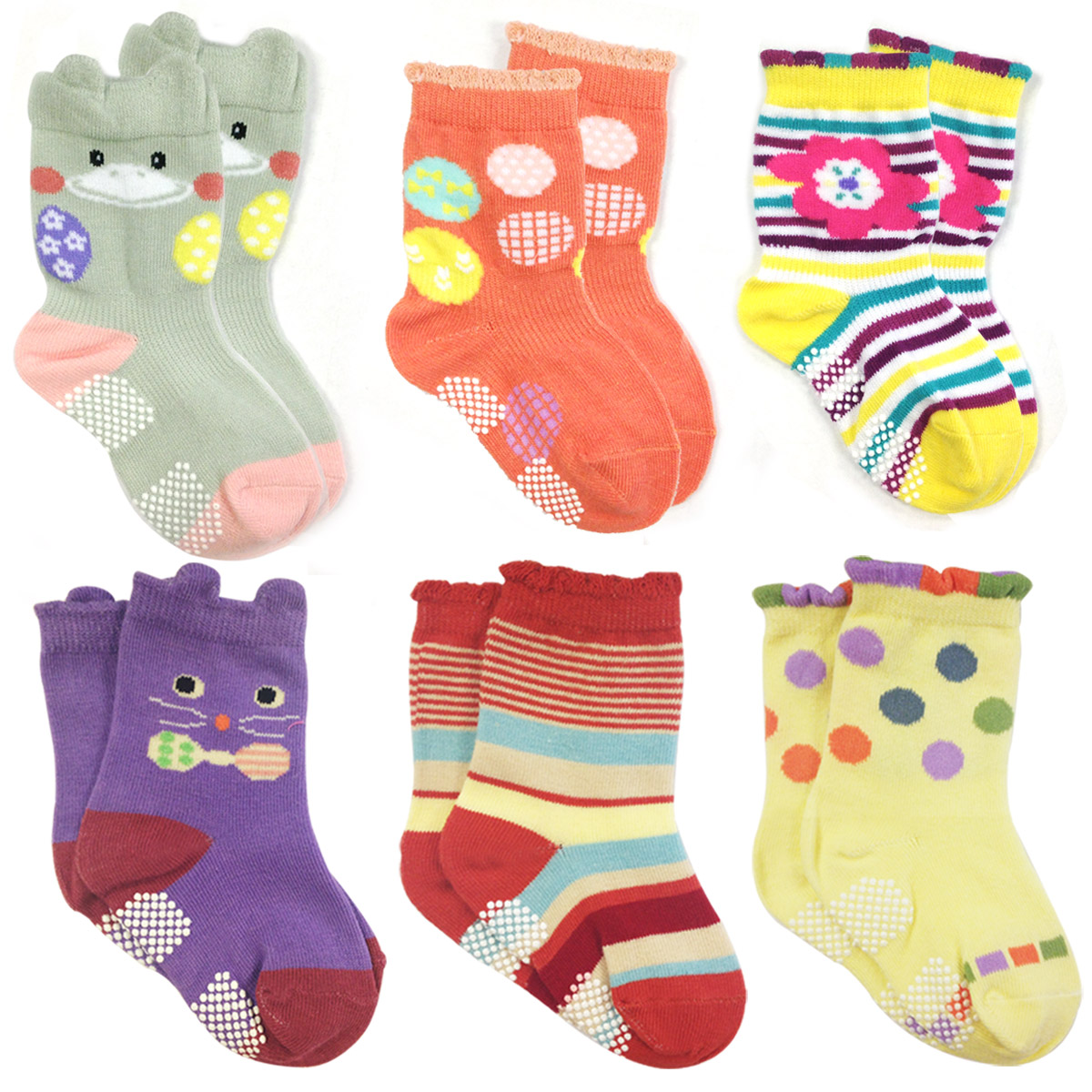 Wrapables® Peek A Boo Animal Non-Skid Toddler Socks (Set of 6), Cat and Duck (Small)