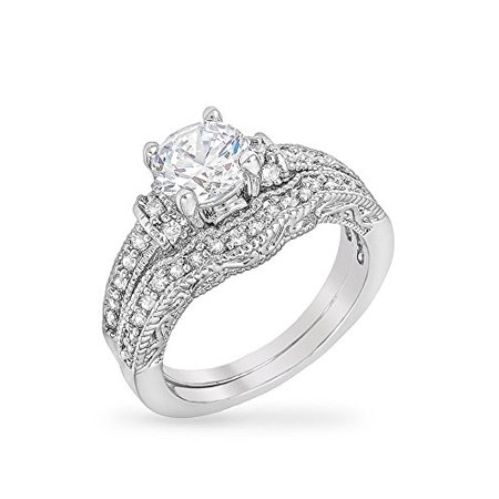 Classic Art Deco Engagement Ring Set with Round Cut Clear CZ Centerpiece and Pave Set Size