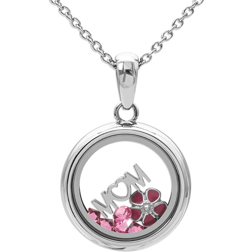 Connections from Hallmark Pink Crystal Stainless Steel Mom Shaker Pendant