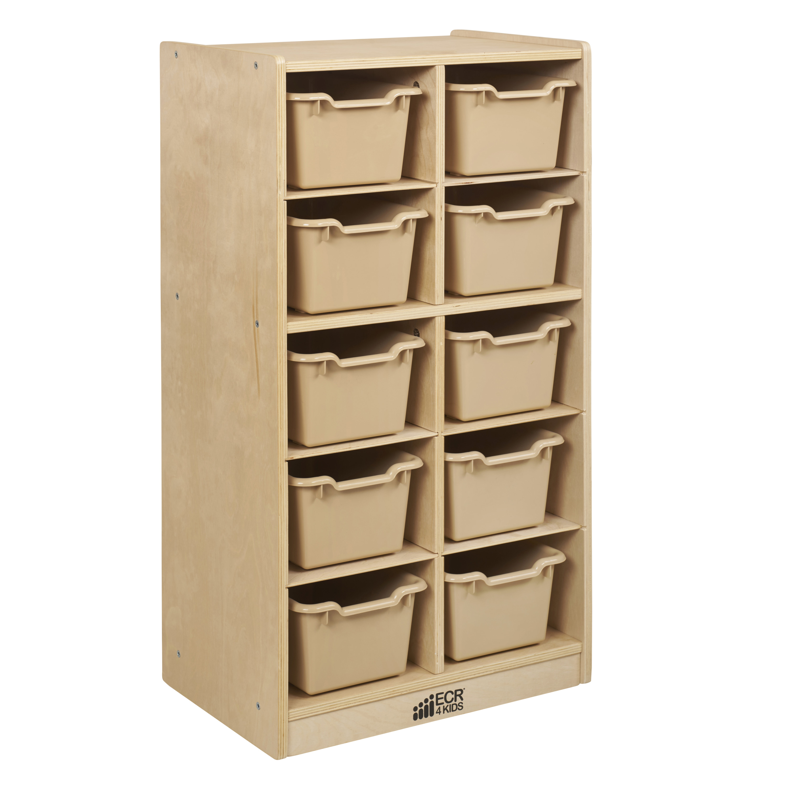 Birch 10 Cubby Tray Cabinet with Assorted Bins
