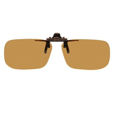 Clip on Flip up Plastic Sunglasses, Large Tru Rectangle, 60mm W X 38mm H (128mm or 5