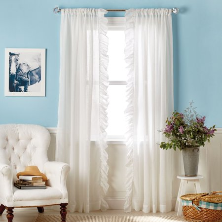 The Pioneer Woman Chambray Ruffle Pole Top Curtain Panel