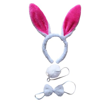 3Pcs Kids Adult Rabbit Bunny Ears Headband Bow Ties Tail Set Party Cosplay Costume (White & Rose Red) for $<!---->