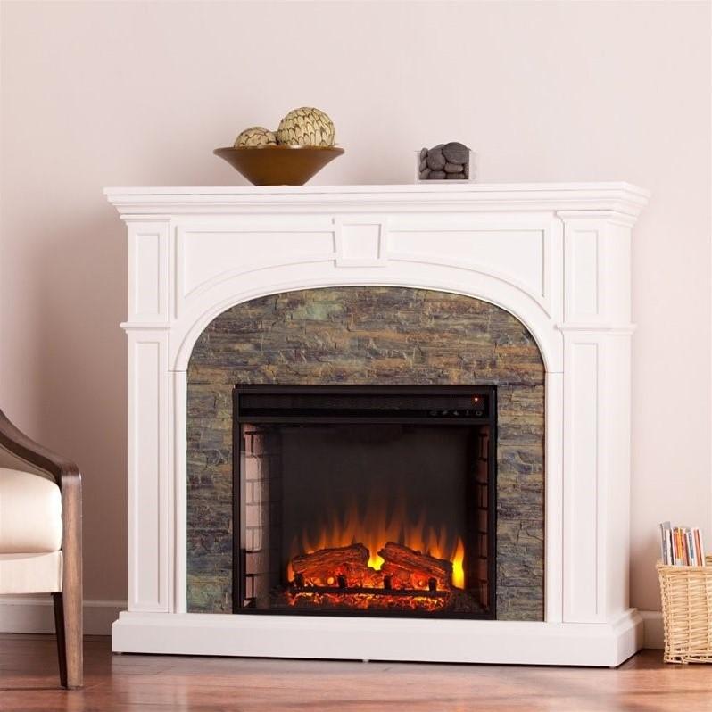 Southern Enterprises Tanaya Faux Stone Electric Fireplace in White