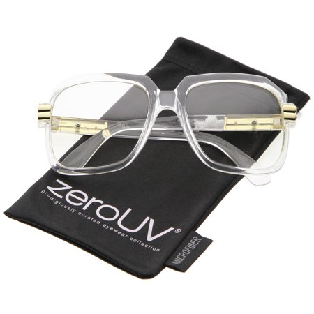zeroUV - Large Chunky Metal Accented Temples Clear Lens Square Glasses 55mm - 55mm Large Colored Square Glasses With Clear Lenses & Metal Accented Temples