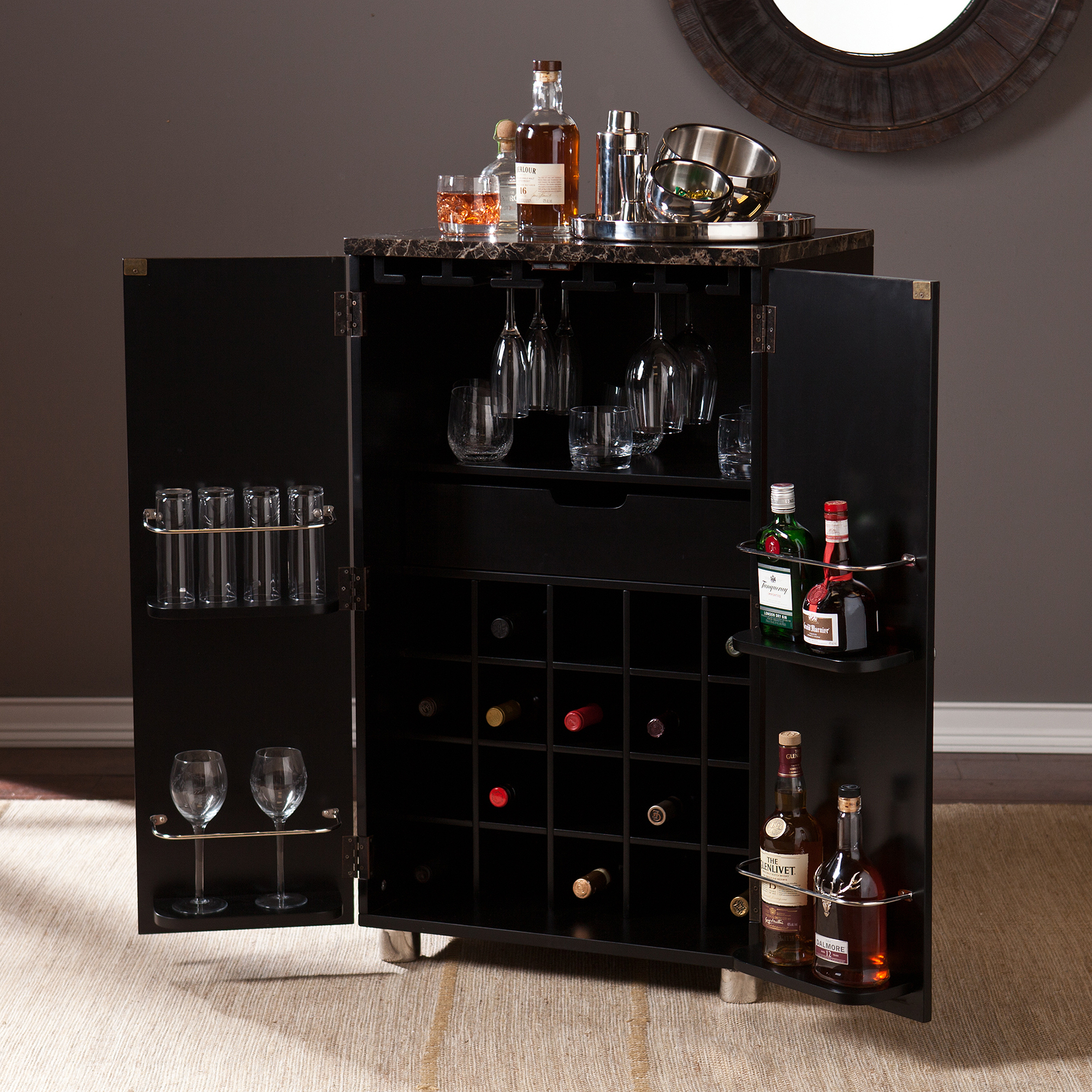 Sheena Contemporary Bar Cabinet Black Walmart Com