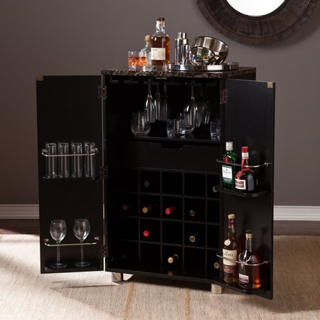 Sheena Contemporary Bar Cabinet, Black
