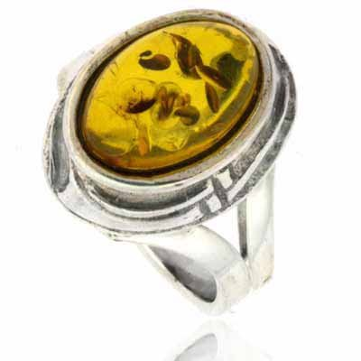 Sterling Silver Amber Stone Ring Size 8