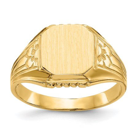 14K Yellow Gold 10 MM Engravable Square Signet Ring, Size 6