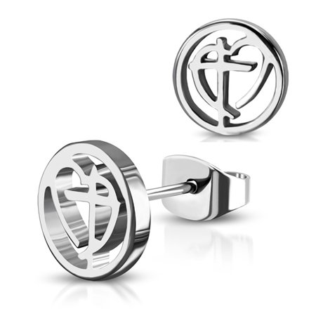 Best Stainless Steel Cross My Heart Love Round Circle Button Stud Post Earrings deal